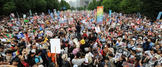 People protest against PM Abe's Japan security policy